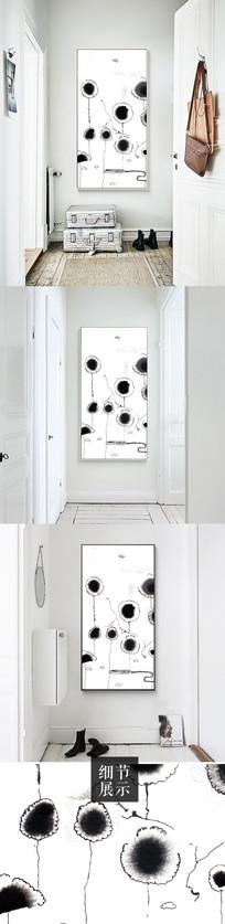 北欧现代简约黑白手绘蒲公英装饰画