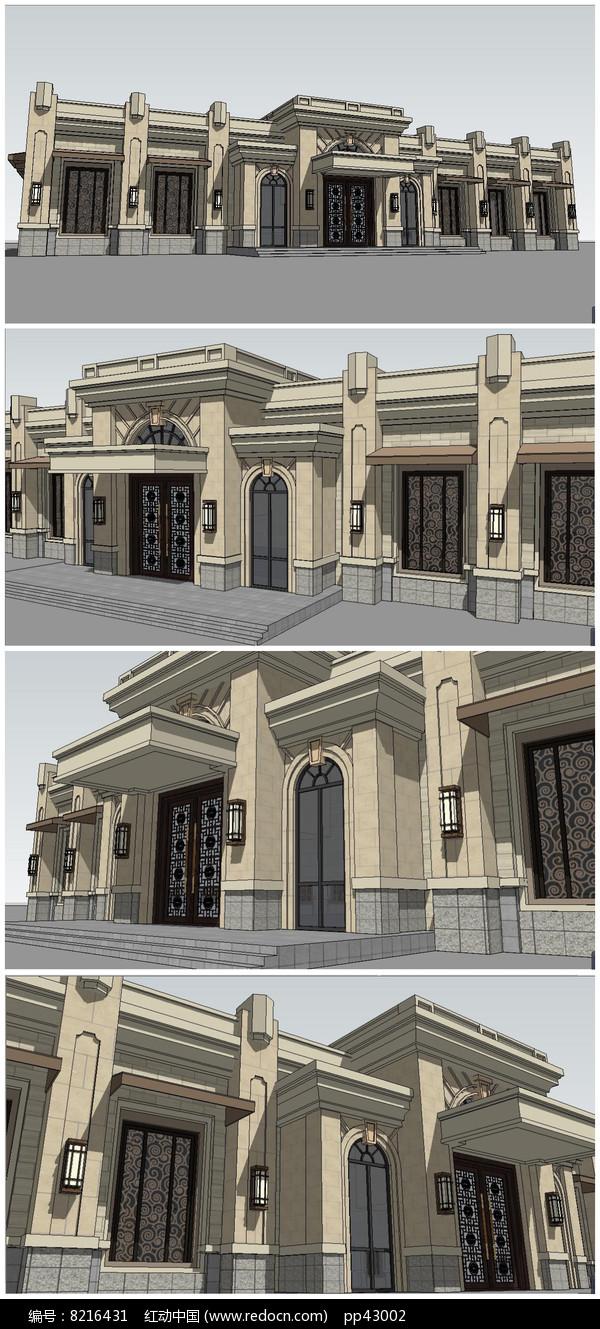 法式欧式风格建筑会所接待处SU模型图片