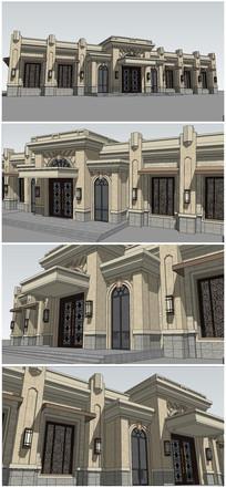 法式欧式风格建筑会所接待处SU模型