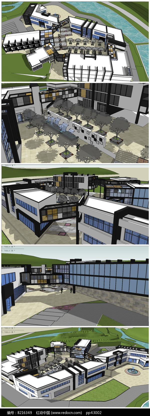 高档度假中心建筑SU模型图片