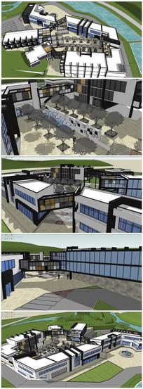 高档度假中心建筑SU模型
