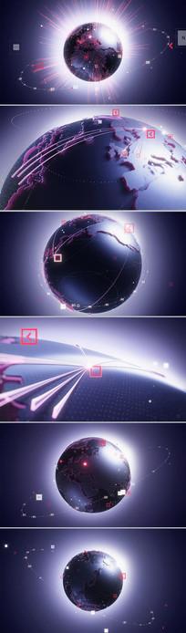 高科技点线汇聚地球三维动画CG视频素材