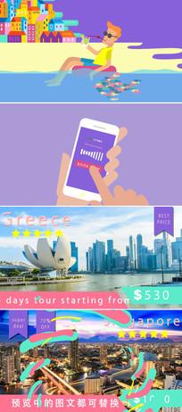 卡通风格手机app旅游宣传介绍广告片ae模板