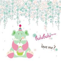 卡通小动物大象矢量儿童插画