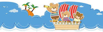 可爱卡通三只小熊插画 EPS