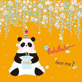 可爱卡通熊猫儿童绘画矢量插画