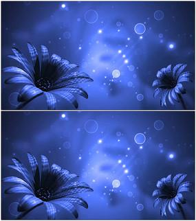 浪漫蓝色花朵动态背景视频