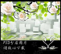 立体白玫瑰3D背景墙