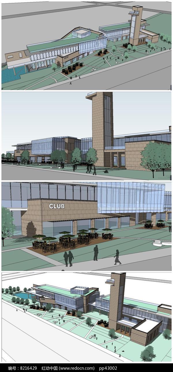 现代风格商业中心购物广场建筑SU模型图片