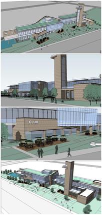 现代风格商业中心购物广场建筑SU模型