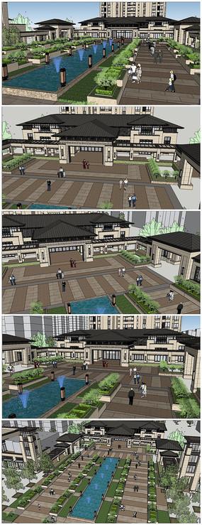 新亚洲风格会所景观中心建筑SU模型