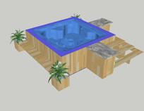 休闲平台种植花池 skp