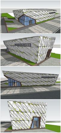 艺术风格造型会所售楼处建筑SU模型 skp