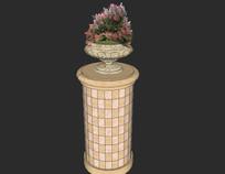 圆柱格子图案花钵