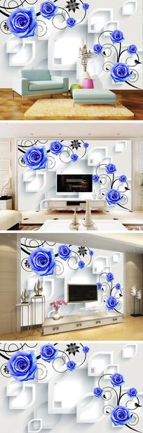 3D立体蓝色玫瑰电视背景墙