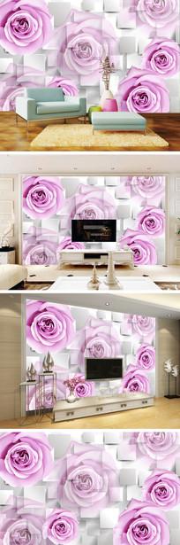 3D立体玫瑰电视背景墙
