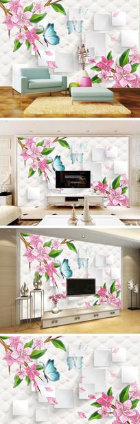 3D立体梦幻手绘桃花软包电视背景墙