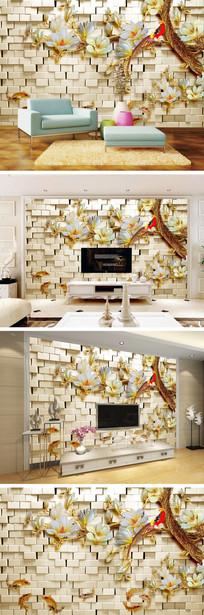 3D立体墙壁玉兰花鲤鱼电视背景墙 TIF