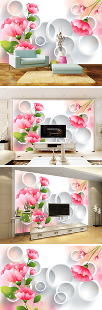3D立体手绘花卉花朵电视背景墙