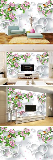 3D立体手绘花鸟桃花电视背景墙