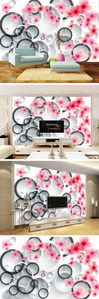 3D立体手绘桃花电视背景墙