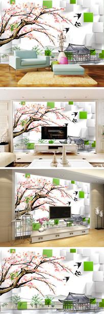 3D立体水墨桃花小屋电视背景墙