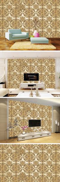 3D立体中式花纹电视背景墙