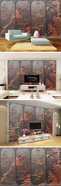 3D木雕梅兰竹菊电视背景墙