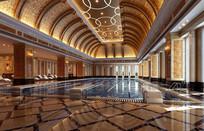 欧式屋顶室内游泳池3D模型