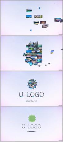 照片拼贴汇聚Logo动画