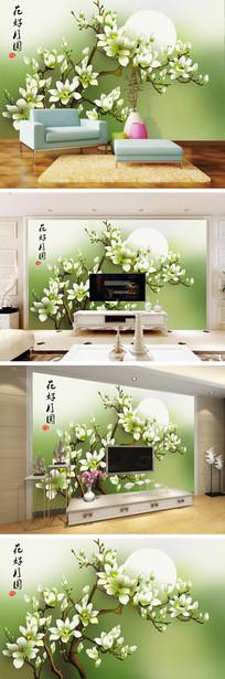 中式花好月圆手绘玉兰花电视背景墙