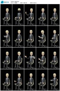 15种带透明通道卡通主持人坐姿视频素材