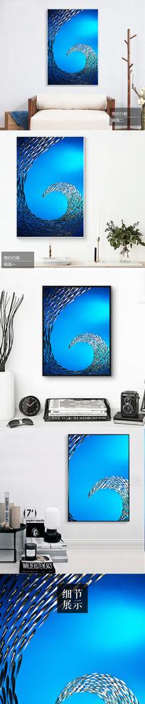 北欧简约深海追逐鱼群装饰画