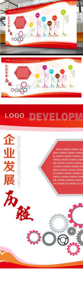 红色时尚企业文化背景墙发展历程印刷展板