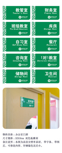 教育机构办公室门牌