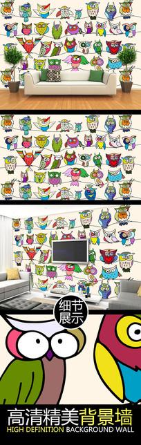 卡通猫头鹰儿童房PSD背景墙