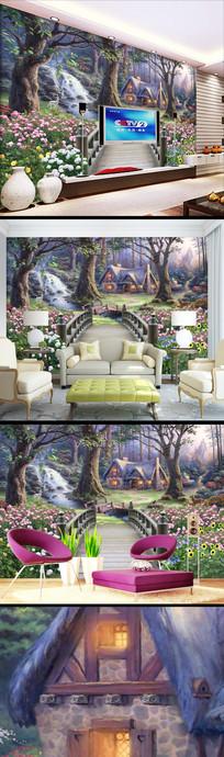 梦幻油画城堡木桥花卉壁纸背景墙