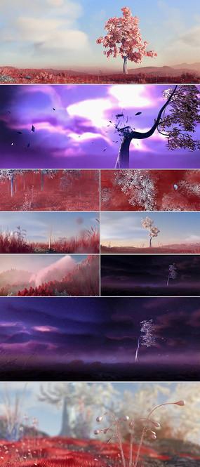 树苗发芽生长变大树CG动画视频素材