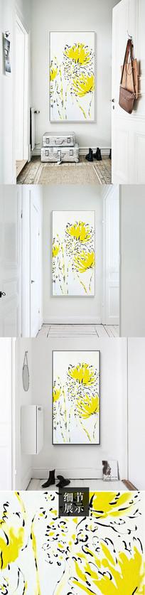 新中式手绘菊花花朵装饰画