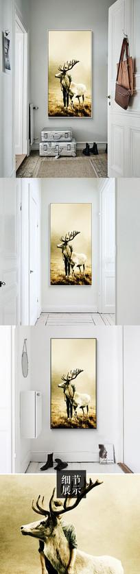 新中式手绘麋鹿山水背景墙装饰画