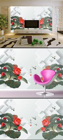 简约荷花蜻蜓3D方块背景墙