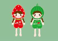 卡通草莓西瓜水果女孩矢量插画