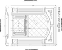 欧式楼中楼客厅沙发背景电视背景墙加壁炉CAD设计图纸 CAD