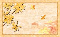 山水花鸟纹理边框背景墙
