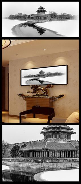 中式山水建筑装饰画