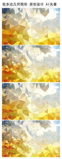 金色华丽时尚低多边形背景 AI