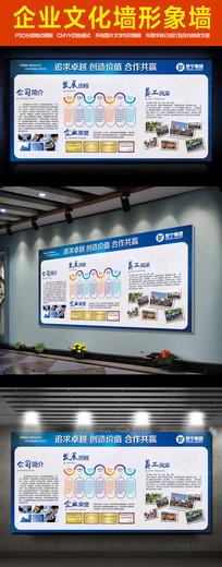 企业文化墙公司简介展板形象墙psd模板