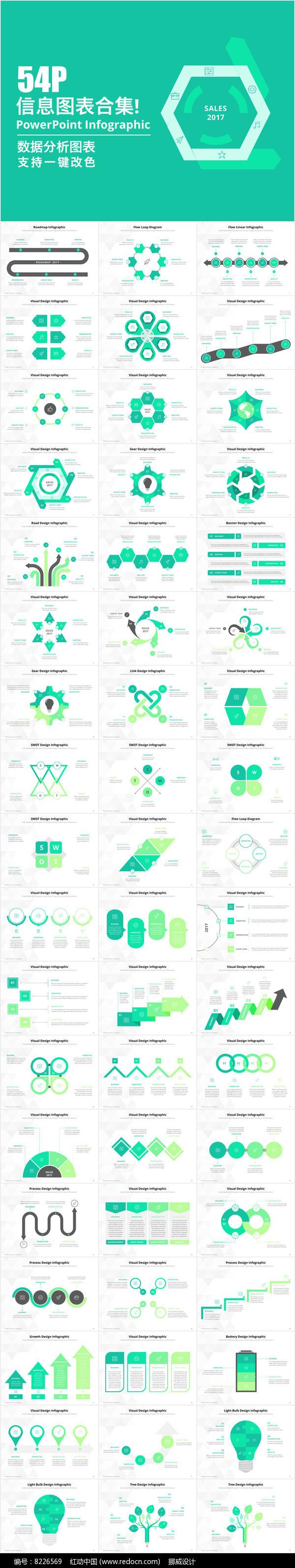54页数据统计分析ppt商务图表合集模板图片