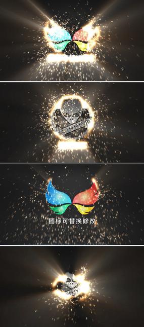 大气火花粒子logo演绎ae模板
