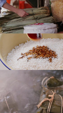 端午节裹粽子